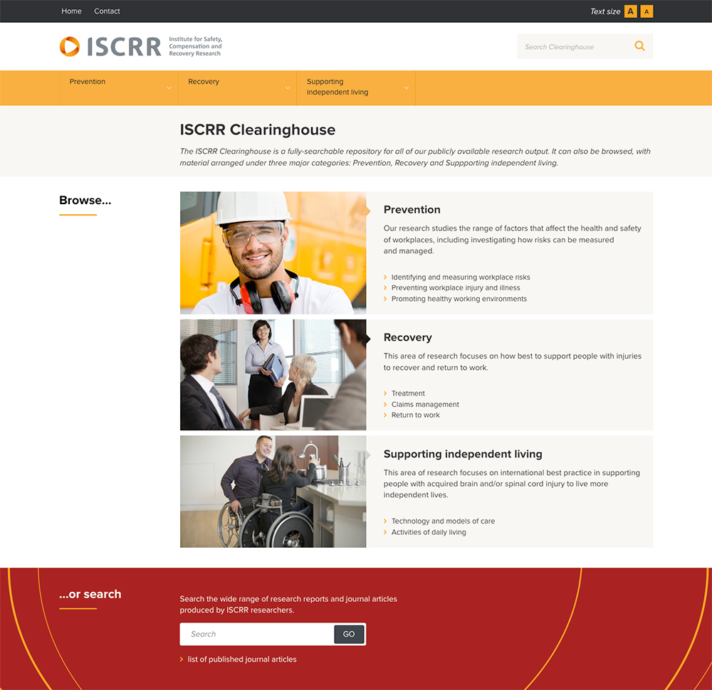Screen image of ISCRR Clearinghouse home page