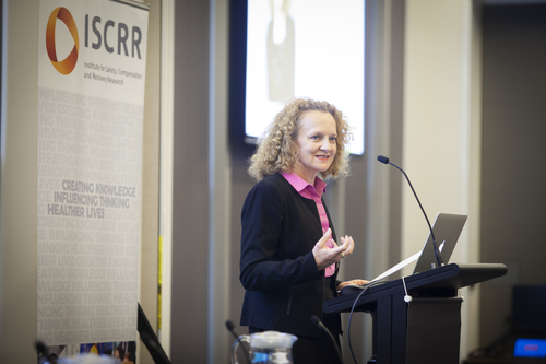 Clare Amies opening the ISCRR Research Showcase